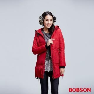【BOBSON】女款長版羽絨外套(紅35110-16)
