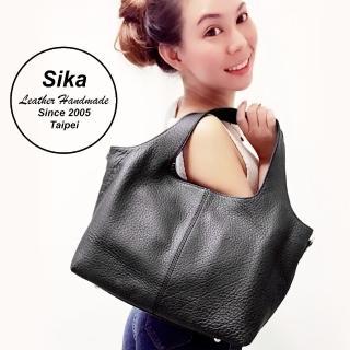 【Sika】義大利時尚牛皮窈窕佳人兩用手提包(L6166-03質感黑)
