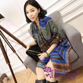 【Decoy】民族圖騰*幾合棉柔圍巾/藍