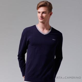 【ROBERTA諾貝達】台灣製 柔軟保暖 時尚百搭長袖POLO棉衫(深藍)