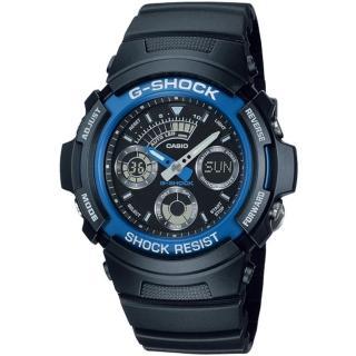【CASIO 卡西歐】G-SHOCK 極速運動時尚運動雙顯錶(44.6mm/AW-591-2A)