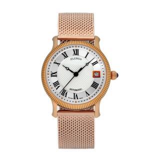 【FLUNGO佛朗明哥】米蘭羅馬假期機械腕錶-金(機械錶、不鏽鋼錶、米蘭帶)