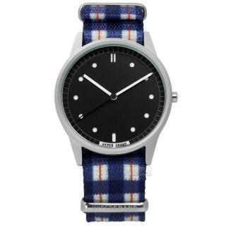 【HyperGrand】Tartan 經典格紋藝術印花尼龍手錶 黑x藍白 38mm(NWH2TART)