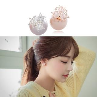 ~梨花HaNA~無耳洞韓國夢幻星鑽光點雙面珍珠耳環夾式