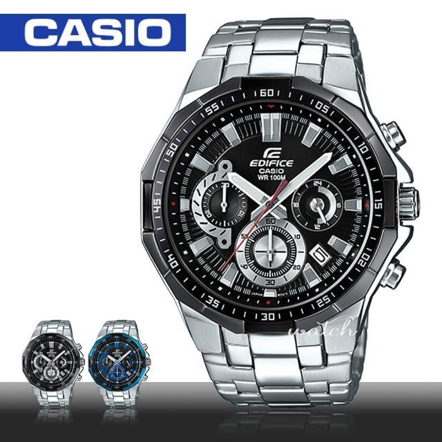 【CASIO 卡西歐 EDIFICE 系列】送禮首選_商務時尚_不鏽鋼錶帶_一觸式3倍扣_男錶(EFR-554D)