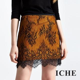【ICHE 衣哲】滿版3D細膩睫毛蕾絲短裙