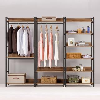 【Bernice】諾德8尺開放式組合衣櫃(雙吊+單桿+多層收納)