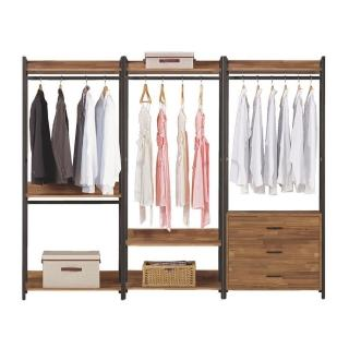 【Bernice】諾德8尺開放式組合衣櫃(雙吊+單桿+三抽)