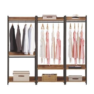 【Bernice】諾德7.3尺開放式組合衣櫃(雙吊+單桿+2尺單桿)