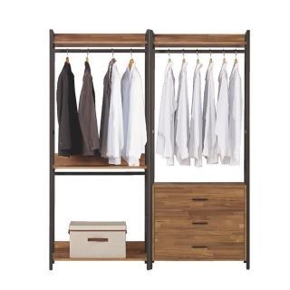 【Bernice】諾德5.3尺開放式組合衣櫃(雙吊+三抽)