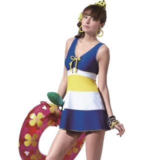 【SAIN SOU】戲水/沙灘/踏浪大女連身裙泳裝(附泳帽A98603)