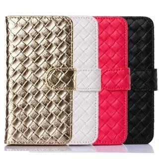 【Samsung】S7 時尚編織紋手機皮套(金白桃黑多色可選)