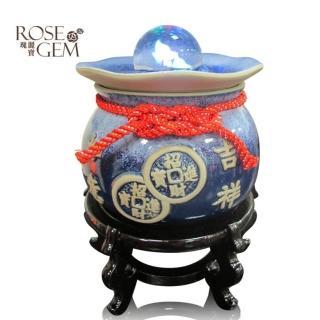 【瑰麗寶-買就送-3-4kg鹽燈】吉祥如意聚財雷射流水滾球組_湛藍