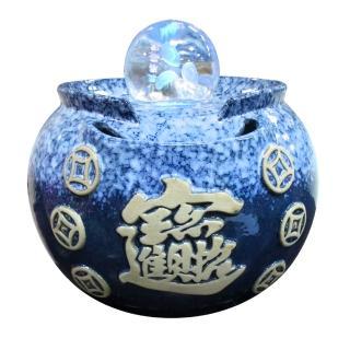 【瑰麗寶-買就送-金鑽旺福USB鹽燈】中型招財進寶雷射流水8cm滾球組-湛藍