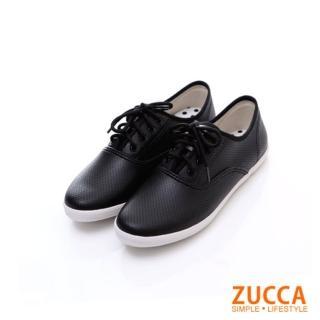 【ZUCCA】雅痞風紋軟皮繫帶休閒鞋Z5827BK-黑色