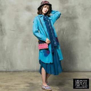 【*katieQ異國風】配色縫布長版襯衫-F(藍/紫)