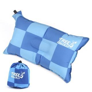 【TreeWalker】舒適自動充氣枕頭(藍色方格)