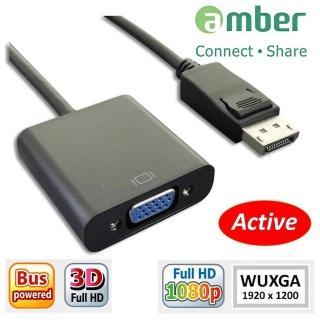 【amber】Displayport(DP)轉 VGA 訊號轉換器(DP-02B黑色)
