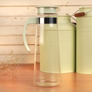 【Artist精選】紫羅蘭耐熱玻璃冷熱兩用水壺1100ml-粉綠