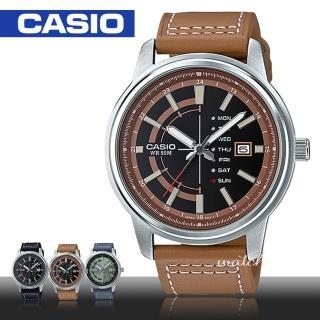 【CASIO 卡西歐】時尚精選_防水_礦物玻璃_星期顯示_皮革錶帶_男錶(MTP-E128L)