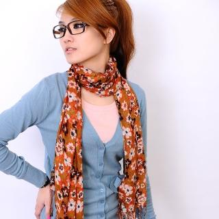 【Lady c.c.】巧心花染布綣閨秀流蘇圍巾(橘)
