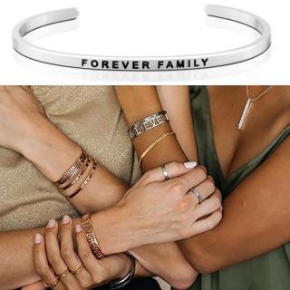 【MANTRABAND】美國悄悄話手環 FOREVER FAMILY 永遠的家人 銀色(悄悄話手環)