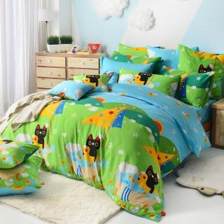 【義大利Fancy Belle X Malis】《大自然的淋浴》雙人四件式防蹣抗菌舖棉兩用被床包組
