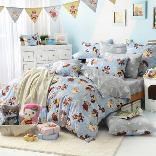 【義大利Fancy Belle X DreamfulCat】《愛麗絲茶會-藍》雙人四件式防蹣抗菌舖棉兩用被床包組