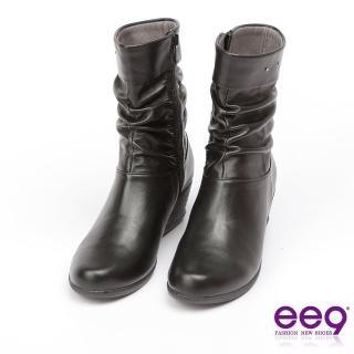 【ee9】MIT經典手工-俐落優雅自然抓皺百搭楔型跟中筒靴-黑色(中筒靴)