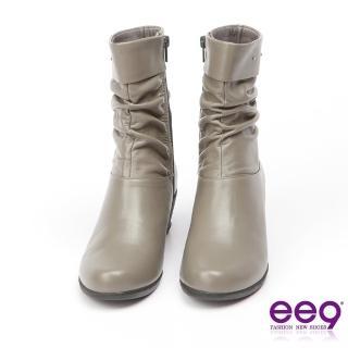 【ee9】MIT經典手工-俐落優雅自然抓皺百搭楔型跟中筒靴-灰色(中筒靴)