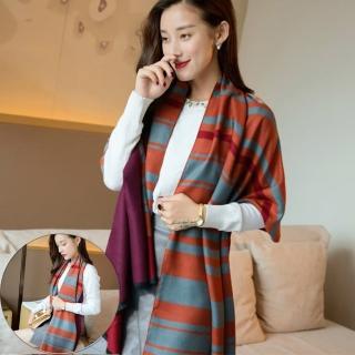 【Seoul Show】凱美洛橫線格紋仿羊絨圍巾(橙色+灰色)