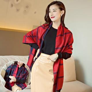 【Seoul Show】曼徹斯特撞色十字格紋仿羊絨圍巾(藏青+大紅)