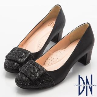 【DN】奢華耀眼    華麗方形水鑽飾扣高跟鞋(黑)