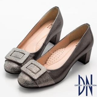 【DN】奢華耀眼   華麗方形水鑽飾扣高跟鞋(灰)