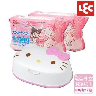 【日本LEC】KITTY純水99.9%濕紙巾超值組(造型外盒+80抽x7包)