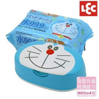 【日本LEC】小叮噹純水99.9%濕紙巾便利組(造型外盒+80抽x4包)
