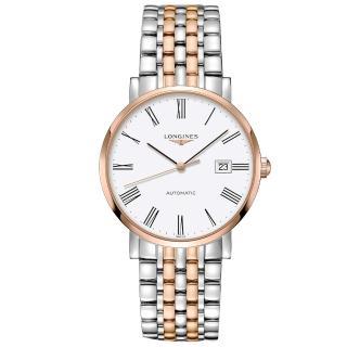 【LONGINES】浪琴 Elegant 羅馬機械腕錶-白x雙色版/39mm(L49105117)