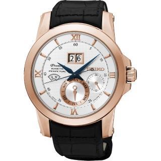 【SEIKO】精工 Kinetic 萬年曆大視窗腕錶-銀x玫瑰金框/41mm(7D48-0AR0P  SNP138J1)