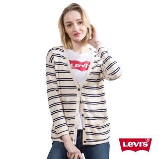 【Levis】女款修身針織外套 / 鈕釦 / 條紋