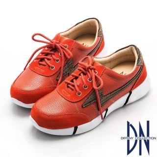 【DN】舒適輕盈  閃耀麂皮拼接運動風休閒鞋(橘)