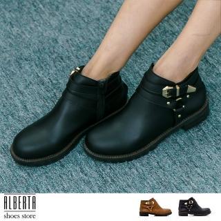 【Alberta】MIT台灣製 英倫復古 金屬扣環 騎士靴 機車靴 低粗跟3cm 短靴(黑)