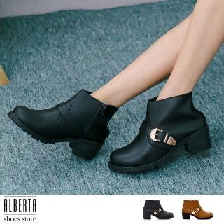 【Alberta】MIT台灣製 英倫復古 粗跟 中跟高5cm 騎士靴 機車靴 短靴(黑)