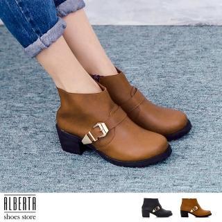 【Alberta】MIT台灣製 英倫復古 粗跟 中跟高5cm 騎士靴 機車靴 短靴(棕)