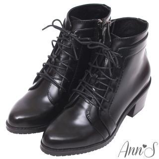 【Ann'S】質感帥氣光澤皮革綁帶牛津粗跟短靴(黑)