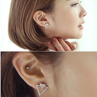 【梨花HaNA】韓國925銀雙層品味三角皓鑽耳環銀色