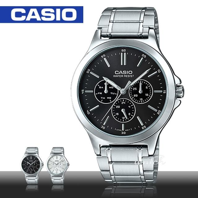 【CASIO 卡西歐】型男必備_不鏽鋼錶帶_防水_礦物玻璃_男錶(MTP-V300D)