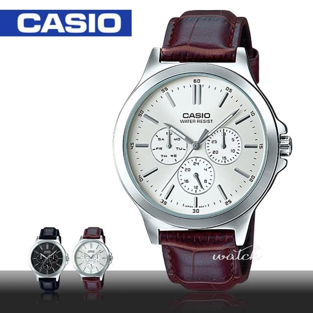 【CASIO 卡西歐】型男必備_皮革錶帶_生活防水_礦物玻璃_男錶(MTP-V300L)