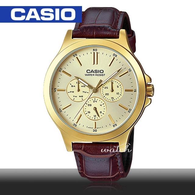 【CASIO 卡西歐】型男必備_皮革錶帶_金離子鍍金錶殼_防水_礦物玻璃_男錶(MTP-V300GL)