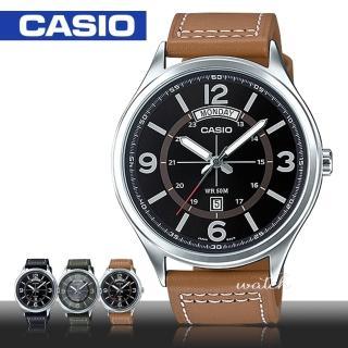 【CASIO 卡西歐】時尚精選_防水_礦物玻璃_日期顯示_皮革錶帶_男錶(MTP-E129L)