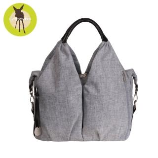 【Lassig】時尚單寧托特媽媽包-刷色灰
